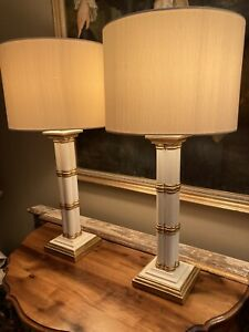 Tall Pair Of Vintage Hand Painted Faux Bamboo Table Lamps