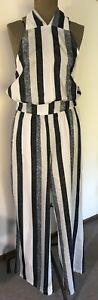 Halter Neck Vertical Stripes Jump Suit Wide Pants M NEW