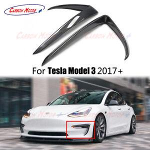 For Tesla Model 3 Gloss Carbon Fiber Front Bumper Canard Fog Lamp cover 2021