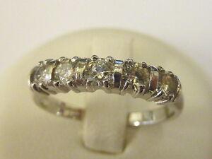 Ladies Stunning 18ct White Gold 5 Stone Moissanite Half Hoop Ring - Size N