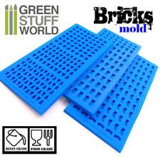 PACK x3 Moldes de Silicona LADRILLOS - Molde Goma construccion modelismo muros