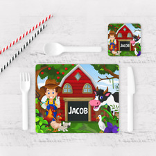 Personalised Farmers Farm Animals Boys Kids Children's Table Placemat & Coaster