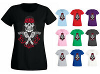 Womens Revolvers Guns And Roses Sugar Skull Face Tattoo T-shirt NEW UK 6-18