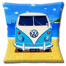 VW Camper Van Cushion Cover 16x16 inch 40cm Retro Blue Campervan on Sandy Beach