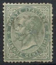 ITALIA 1863-65 SG # 10, 5c Grigio Usato #D 8736