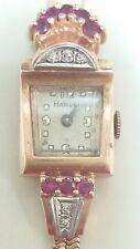 Antique 14k Yellow Gold Harvel Brand Name Ruby and Diamond Wristwatch for Women