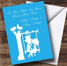 Blue Couple Eon Swing Personalised Renewal Of Vows Greetings Card