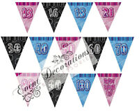 HAPPY BIRTHDAY GLITZ 13-60th 12FT FLAG BANNER HANGING PARTY DECORATION,3 COLOURS