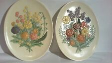 vintage Ceramic Wall hangings ( 2 - Flower Plates ) 13 in tall