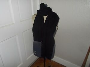 Polo Ralph Lauren Black 100% Cashmere Cable Knit Scarf