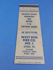 WEST END FIRE CO 1 STOWE PA BOWLING IS  A DREAM  MATCHBOOK VINTAGE ADVERTISING