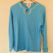 Quacker Factory Women's Top 100% Cotton Blue Sequin Long Sleeve T-shirt XS 009