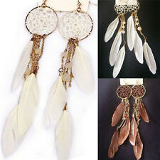 New Fine Bohemia Feather Beads Long Design Dream Catcher Earrings for Women AUGT