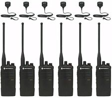 6 Motorola RDU4100 UHF two-way radios with Remote Mics + Free Multi-unit Charger