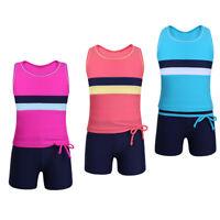 2PCS Girls Kids Tankini Tank Top+Bottoms Swimsuit Gym Sports Dancewear Swimwear