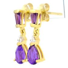 GOLD AMETHYST DIAMOND EARRINGS. NATURAL PURPLE PEARS & BAGUETTES + REAL DIAMONDS
