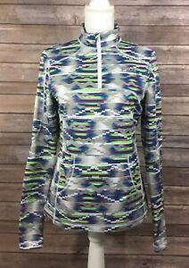 Fila Sport Womens 1/4 Zip Aztec Print Running Shirt Small Gray Purple Stretch T8