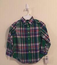 NWT boys Sz 4 Polo Ralph Lauren Multi-Color Button Down Long Sleeve Dress Shirt
