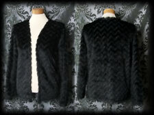 Gothic Jet Black Fur Effect THERE BE MONSTERS Jacket Cover Up 12 14 Alt Punk