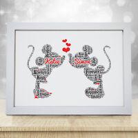Personalised Word Art Disney Wedding Engagement Frame Print Couple Unique Gift
