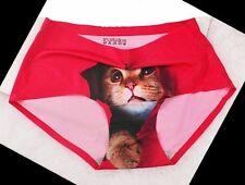 RED Seamless Pussycat 3D Print Panties ~ Pants Briefs Knickers Underwear