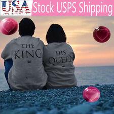 Men Grey KING Letter Print Long Sleeve T-Shirt Top Blouse Couple Shirt Size XL