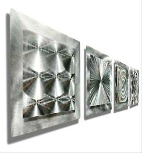 Silver Metal Wall Art Abstract Accent Decor 4 Square Wall Sculpture Jon Allen