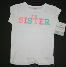 New Carter's Girls 2T Top Big Sister Graphic Tee Glitter Short Sleeves White