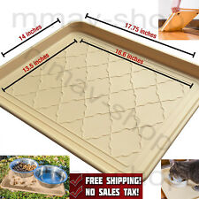 Durable Pets Food Tray Large Dog Cat Feeding Mat Mess Spill Proof Deep Ridges
