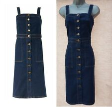 Womens Ladies M&S Denim Dress Pinafore Midi Button Pockets Vintage Festival Size