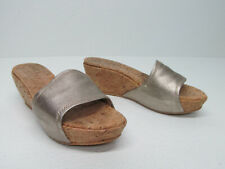 STUART WEITZMAN Gold Leather Cork Wedge Platform Slip On Size Women's 8M