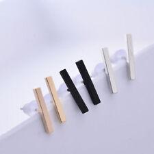 1Pair Minimalist Surgical Steel Silver Thin Dainty Bar Stick Line Stud Earrings