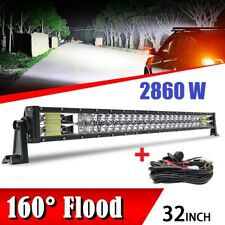 "5D 32""inch LED Work Light Bar 2860W Dual Row Offroad Spot Beam Fog Lens PK 30/34"