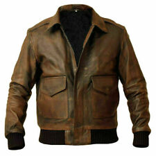 Men's A2 Aviator Air Force Distressed Flight Bomber Sheep Leather Jacket
