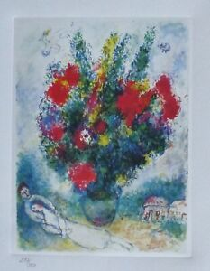 MARC CHAGALL FLOWERS HAND NUMBERED 257/333 LITHOGRAPH plate signed matted