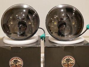 "LED Headlights 50W BLACK CRYSTAL 7"" Inch Headlamps for Land Rover Defender UK EU"