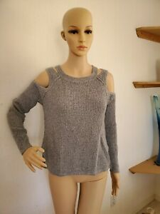 HOLLISTER Gray Medium Knit Cold Shoulder Long Sleeve Pullover Sweater  SMALL