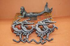 (5), Salvaged-look Mermaid Figurine w/ Dancing Mermaid Wall Hooks, Cast Iron
