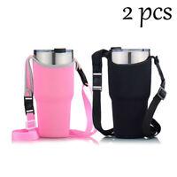 2Pcs Shoulder Sleeve Carry Bag for 30Oz YETI RTIC Ozark Trail Rambler Black Pink