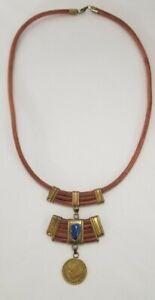 Unique Handmade Leather Statement Necklace w Lapis Cabochon & Chile 1964 Coin