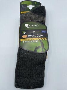 Lorpen Wool Work Duty Tactical T3 Crew Socks Grey Sz Lg New