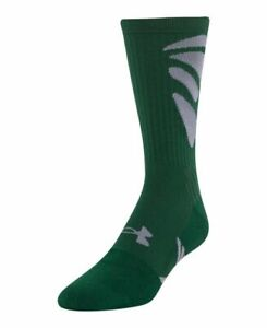 Under Armour men's MPZ Army of 11 Cushioned Green Football Crew Socks Large / L