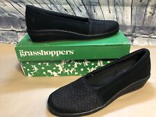 Grasshoppers Ortholite Memory Foam Black Walking Shoes Size 9.5M Maybelle Wedge