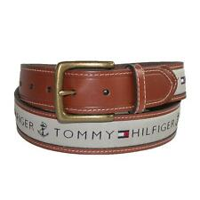 New Tommy Hilfiger Men's Ribbon Inlay Brown Leather Navy Khaki Cotton Belt
