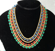 Early Miriam Haskell Gold Green Red Blue Egyptian Revival Bib Mogul Necklace