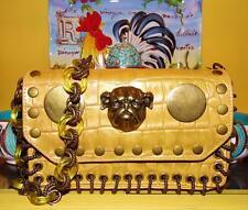 Betsey Johnson VINTAGE Handbag BULLDOG Yellow Gold CROC LEATHER Dog Satchel Bag