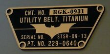 CUSTOM BATMAN THE DARK KNIGHT UTILITY BELT TACTICAL DATA SERIAL PLATE TDK
