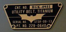 CUSTOM BATMAN THE DARK KNIGHT UTILITY BELT TACTICAL DATA SERIAL PLATE TDK