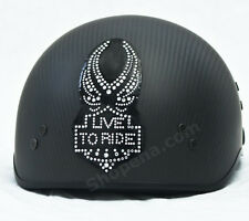 Live To Ride Rhinestone Helmet Patch Decal Biker MX ATV Sticker Racing Street +