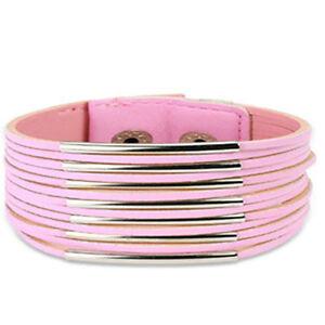 Pink Leather Multi Strip & Steel Bar Wide Bracelet K34